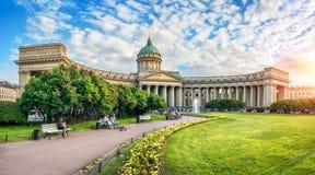 sera alla cattedrale di Kazan immagini stock libere da diritti