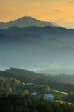 Sera in colline slovene Fotografie Stock
