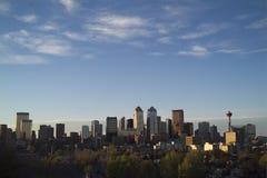 Sera del centro di Calgary Fotografie Stock