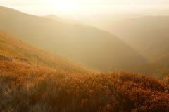 Sera di autunno in montagne carpatiche Fotografia Stock