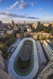 Sera di estate a Kiev, pista ciclabile, vista aerea Fotografia Stock