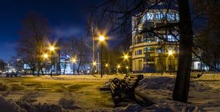 Sera di inverno nella sosta La vigilia dell'epifania ortodossa Inverno, gennaio Fotografie Stock Libere da Diritti