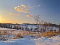 Sera di inverno sulle colline Fotografia Stock