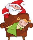 Sera di natale. Santa con la ragazza addormentata Fotografia Stock Libera da Diritti