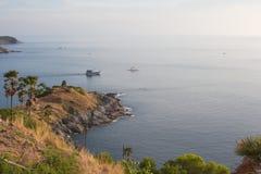 Sera di tramonto al capo, isole di phuket Fotografia Stock