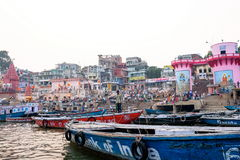 Sera di Varanasi al fiume di Ganga Fotografie Stock