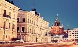 Sera a Helsinki - vista dal quadrato del mercato Fotografie Stock