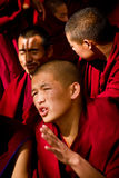 Sera Monastery Debating Monk closes eyes in Lhasa Tibet Royalty Free Stock Image