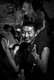 Sera Monastery Debating Monk enjoys clapping Lhasa Tibet Stock Photos