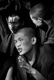 Sera Monastery Debating Monks bandw Lhasa Tibet Stock Photo