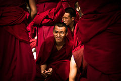 Sera Monastery a smiling Debating Monk of Lhasa Tibet Stock Images