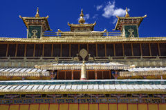 Sera Monastery in Tibet. The ornate roofline of the seara Monastery near Lhasa in Tibet. Sera Monastery  is one of the 'great three' Gelukpa university Stock Photos