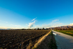 Sera nei campi di Friuli Immagine Stock