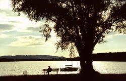 Sera nel lago Fotografia Stock