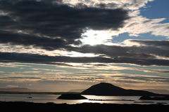 Sera nel lago Myvatn Fotografia Stock