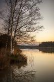 Sera nel lago vicino alla Baviera Germania di Iffeldorf Immagine Stock Libera da Diritti