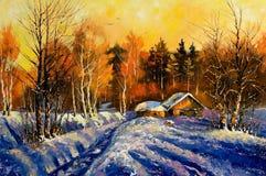 Sera nel villaggio di inverno Immagine Stock