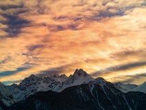 Sera nelle alpi svizzere Fotografia Stock