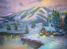 Sera originale della montagna della pittura a olio Fotografie Stock
