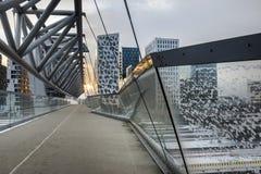 Sera Oslo Le costruzioni del codice a barre Fotografia Stock Libera da Diritti