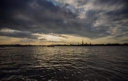 Sera Pietroburgo Fotografie Stock Libere da Diritti