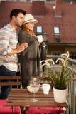 Sera romantica nel balcone Immagine Stock