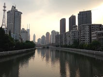 Sera a Shanghai Fotografie Stock