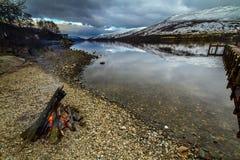 Sera sparata di Lochernhead in Scozia Fotografia Stock Libera da Diritti