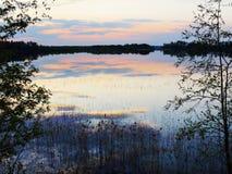 Sera sul lago della sorgente Immagine Stock Libera da Diritti