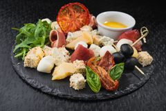 sera ustalony jedzenie z prosciutto mięsem Zdjęcie Royalty Free