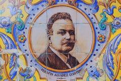 Serafín Álvarez Quintero. Image of writer Serafín Álvarez Quintero on tiles in María Luisa park, Andalusia Spain Stock Image
