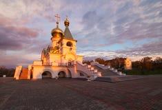 Serafim Sarovsky temple on sunset in Khabarovsk, Russia Royalty Free Stock Image