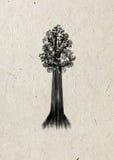 serafin Rysunkowy drzewo na beżowym ryżowym papierze Fotografia Stock