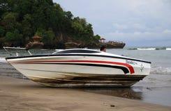 Speed Boat on Anyer. Serang, Indonesia - November 12, 2017: Speed boat on Anyer Beach, Serang, Banten. Rent to visitor Stock Image