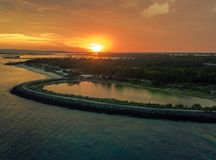 Aerial Sunset View from serangan island, also known as turtle island royalty free stock image
