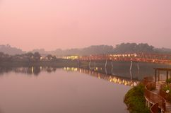 Serangoon Reservoir Red Bridge Royalty Free Stock Image
