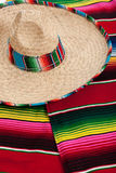 Serape and sombrero as a background. Mexican Serape and a sombrero as a background Stock Photos