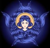 Seraph, φτερωτός άγγελος έξι Απομονωμένη συρμένη χέρι απεικόνιση Υψηλότερη βαθμίδα στο angelology του Christian Καθιερώνον τη μόδ ελεύθερη απεικόνιση δικαιώματος