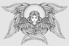 Seraph, φτερωτός άγγελος έξι Απομονωμένη συρμένη χέρι απεικόνιση Υψηλότερη βαθμίδα στο angelology του Christian Καθιερώνον τη μόδ διανυσματική απεικόνιση
