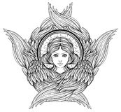 Seraph, φτερωτός άγγελος έξι Απομονωμένη συρμένη χέρι απεικόνιση Υψηλότερη βαθμίδα στο angelology του Christian Καθιερώνον τη μόδ απεικόνιση αποθεμάτων