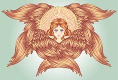 Seraph, φτερωτός άγγελος έξι συρμένος εικονογράφος απεικόνισης χεριών ξυλάνθρακα βουρτσών ο σχέδιο όπως το βλέμμα κάνει την κρητι απεικόνιση αποθεμάτων