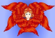 Seraph, φτερωτός άγγελος έξι συρμένος εικονογράφος απεικόνισης χεριών ξυλάνθρακα βουρτσών ο σχέδιο όπως το βλέμμα κάνει την κρητι διανυσματική απεικόνιση