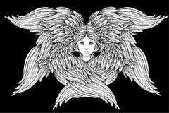 Seraph, φτερωτός άγγελος έξι συρμένος εικονογράφος απεικόνισης χεριών ξυλάνθρακα βουρτσών ο σχέδιο όπως το βλέμμα κάνει την κρητι ελεύθερη απεικόνιση δικαιώματος