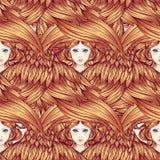 Seraph, φτερωτός άγγελος έξι πρότυπο άνευ ραφής Συρμένη χέρι απεικόνιση χρώματος Υψηλότερη βαθμίδα στο angelology του Christian t απεικόνιση αποθεμάτων