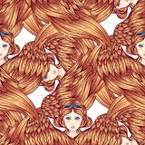 Seraph, φτερωτός άγγελος έξι πρότυπο άνευ ραφής Συρμένη χέρι απεικόνιση χρώματος Υψηλότερη βαθμίδα στο angelology του Christian t ελεύθερη απεικόνιση δικαιώματος