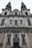 Seraphic St. Francis Church Facade low angle. POLAND, POZNAN - 28 JUNE 2015: Seraphic St. Francis Church Facade low angle Stock Photography
