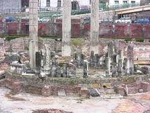 Serapis Temple detail. Pozzuoli, Campania, Italy - March 28, 2016: Serapis Temple or Macellum, public market with square courtyard and central colonnade, tied to Royalty Free Stock Images