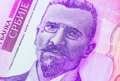 Serb 50 dinar valutasedel, slut upp Serbien pengar RSD c arkivbild