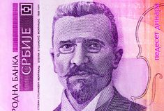 Serb 50 dinar valutasedel, slut upp Serbien pengar RSD c royaltyfri foto