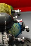 Serbatoi di ossigeno su una barca Fotografia Stock